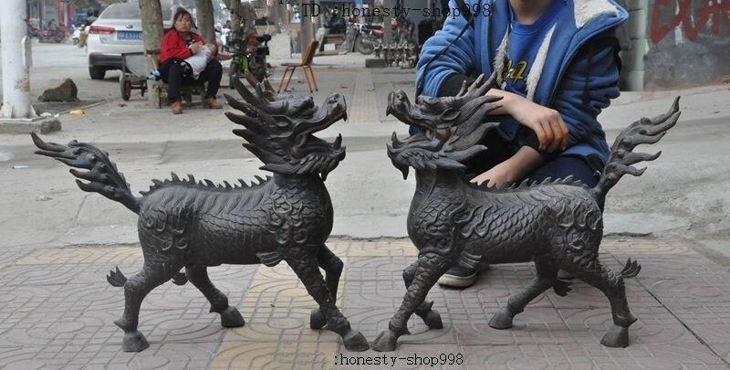 Decoración de la boda años Fengshui de bronce chino Dragon Kylin unicornio Kirin Chi-Lin par de estatuas de bestias