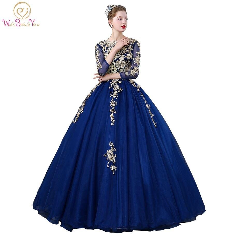 Andar ao lado de você vestidos quinceanera azul real três quartos mangas rendas applique frisado vestido de baile vestidos debutante robe