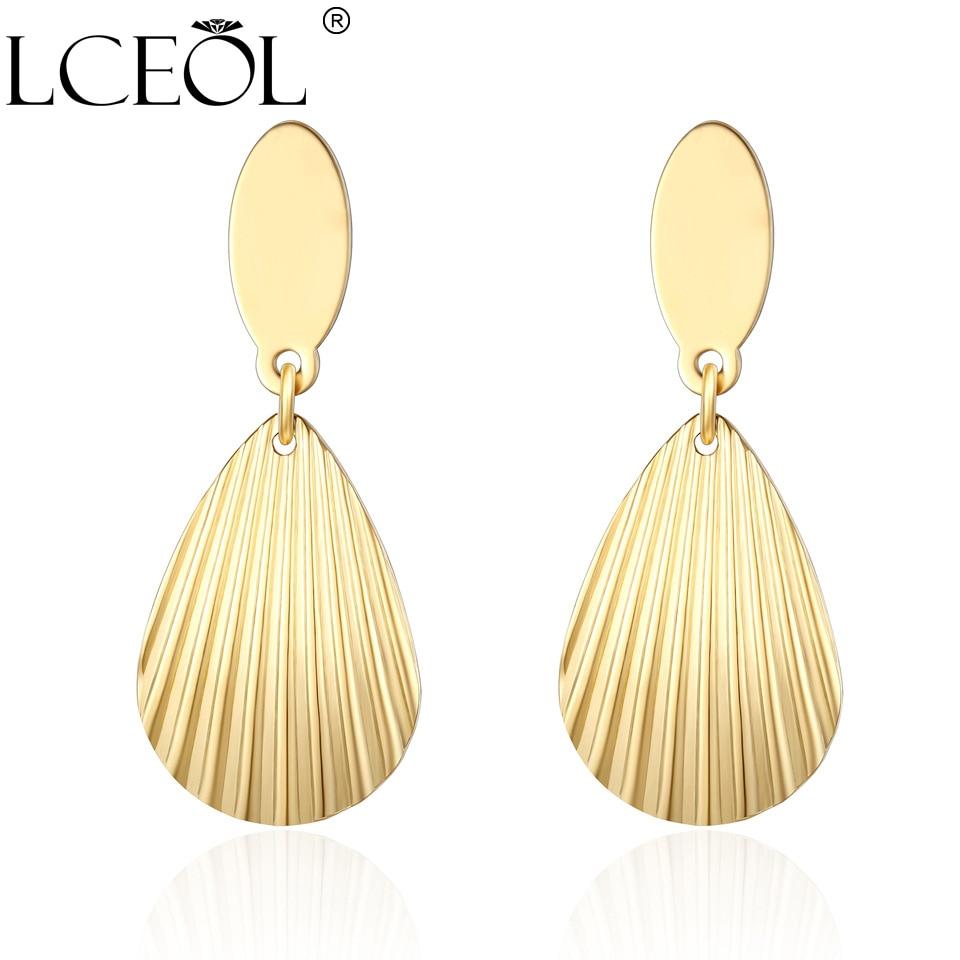Pendientes largos de acero inoxidable LCEOL para mujer pendientes de tachuela geométricos clásicos de Color dorado para chica joyería de fiesta de moda