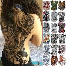Большие тату-наклейки, 48*35 см, 2018, новый дизайн, водонепроницаемая Временная вспышка с изображением рыбы, волка, Будды, тату на всю заднюю сторону, на груди, для мужчин