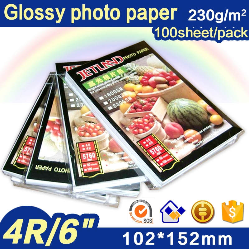 Jetland Inkjet Photo Paper 4x6 Inches, 100 Sheets (230gsm)  4R(A6) high glossy imaging printing paper 2021 hot sale 100 sheets glossy 4r 4x6 photo paper 200gsm high quality for inkjet printers