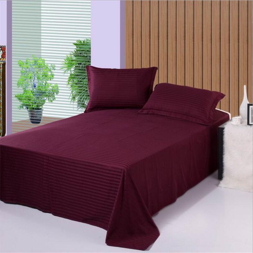 1/3 Uds sábanas de cama moradas a rayas para Hotel, funda de almohada tamaño queen, ropa de cama de sarga de algodón 100%, sábanas planas, ropa de cama