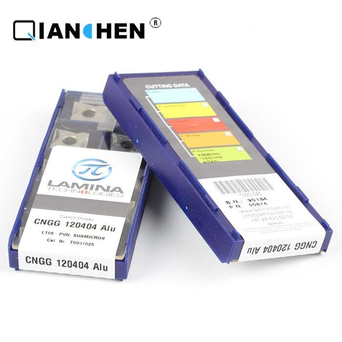 Original de alta calidad de Alto Rendimiento lámina CNGG 120404 Alu LT05 (10 unids/lote) inserciones de herramientas de corte de carburo de tungsteno