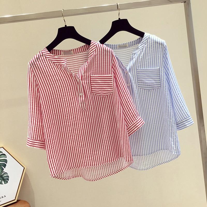 Women Summer V Neck Blouse Fashion Casual Loose Striped Blouse Three Quarter Sleeve Shirts