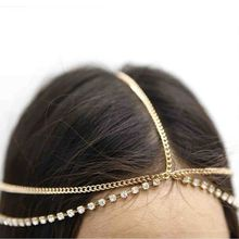 Moda mujer señora Metal oro multicapa de plata Boho cabeza cadena diadema tocado nupcial boda Hairstyle accesorios para el cabello