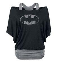 2017 Marca Batman T Shirt Donna Nero Slim Spalle Casual Shirts Allentati delle Donne Falso in Due Pezzi Della Stampa Del Manicotto Del Blocco t-shirt