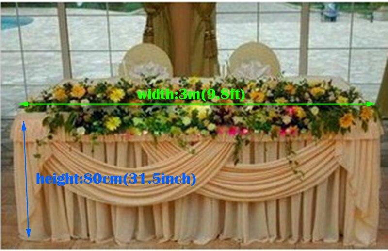 تنورة طاولة الزفاف ، تنورة طاولة بيضاء ، 8 أقدام (W)* 31.5 بوصة (H) ، مأدبة ، غنيمة ، غطاء طاولة الزفاف swag