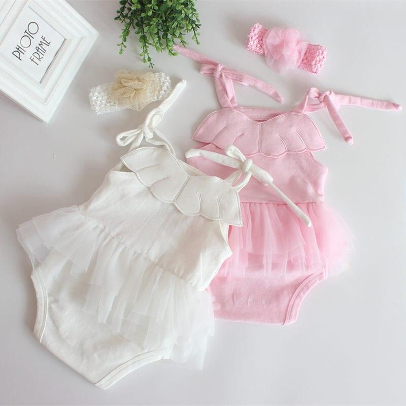 Vêtements dété en coton pour nouveau-nés   Robe avec ailes dange et bretelles, haut et bandeau, vêtements pour enfants et filles