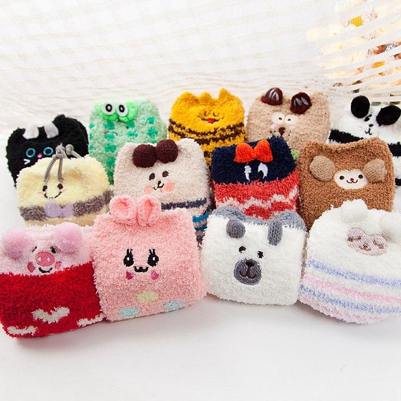 Носки для маленьких мальчиков и девочек зимние хлопковые плотные с рисунком