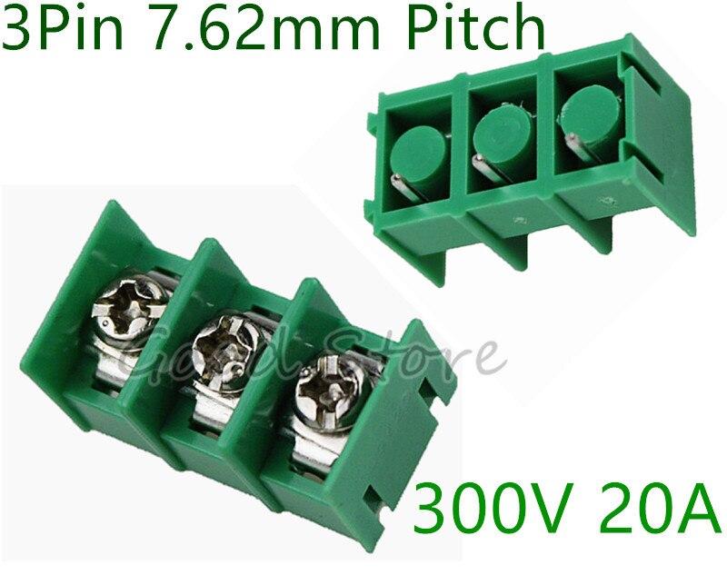 10 Uds KF7.62 3Pin 7,62mm Pitch 300V 20A PCB conectores de bloque de terminales enchufables