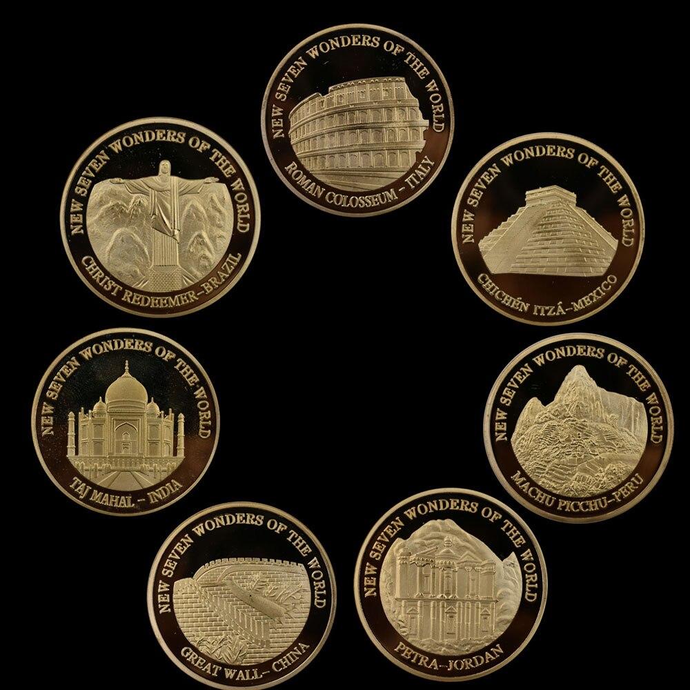 Moneda conmemorativa de las siete maravillas del mundo moneda fina chapada en oro de 24K 7 unids/set accesorios de decoración del hogar monedas de oro