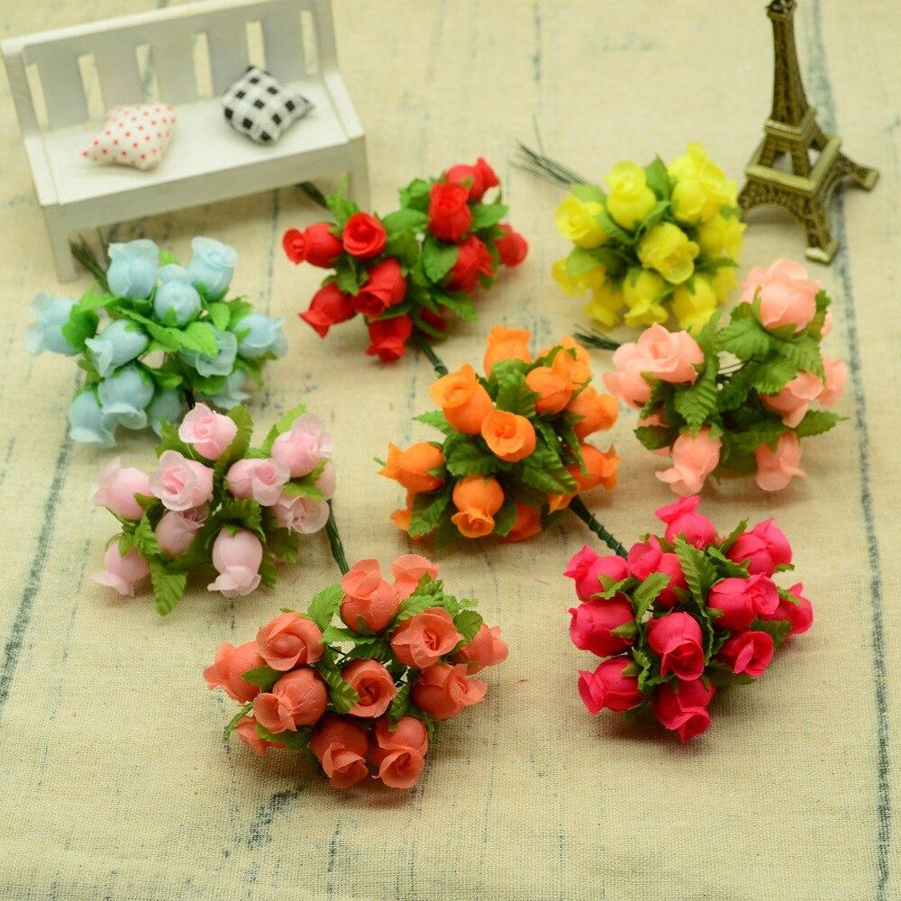 12 Uds ramo de rosas de seda diy guirnaldas de Navidad jarrones para el hogar Accesorios para decoración de boda flores artificiales baratas de plástico