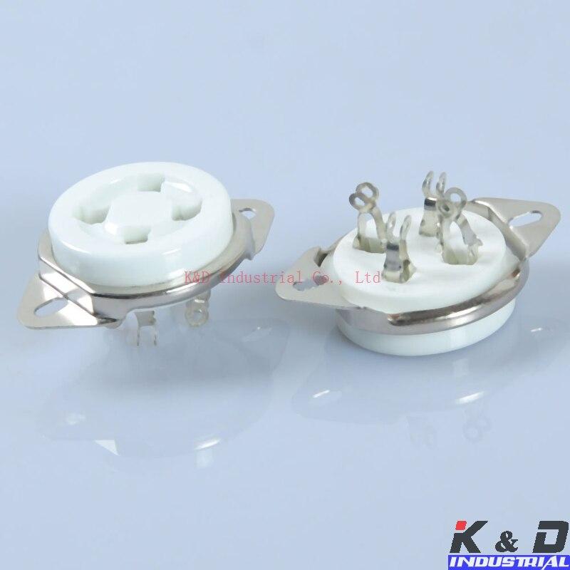 2pcs 4Pin Bottom mounted valve Ceramic Tube Socket  for 2A3 300B U4A amp parts