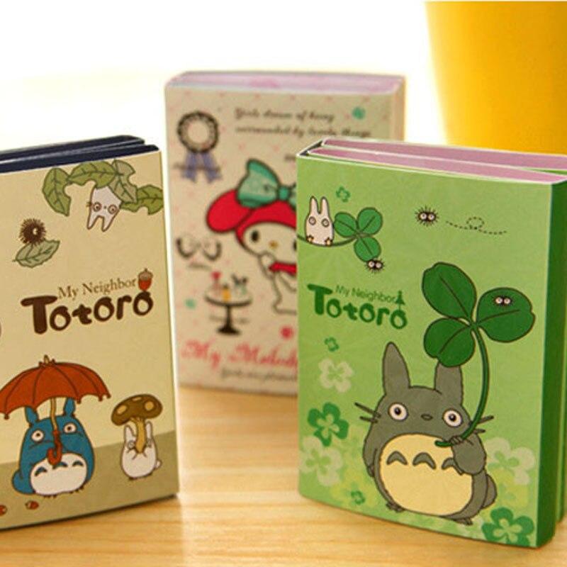 Dibujo de Totoro & Melody Bloc de notas y notas adhesivas plegable Libreta de correos adhesiva material de oficina material escolar F355