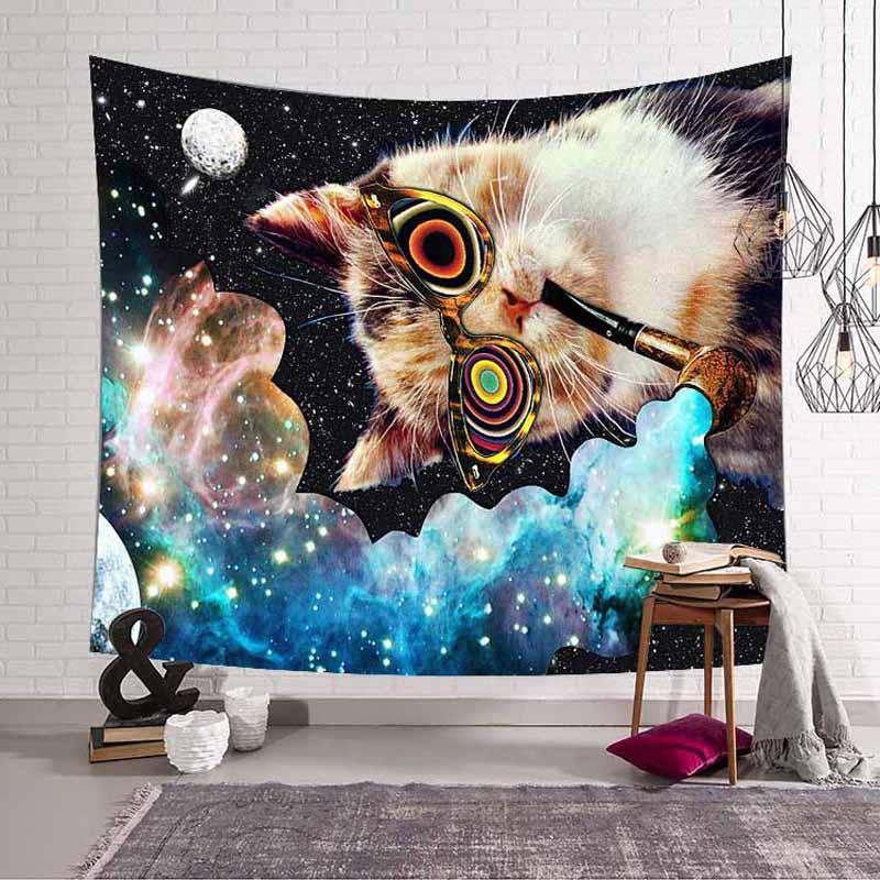 Lannidaa Cat Psychedelic гобелен Декор хиппи Гобелен Мандала настенный гобелен из ткани Манта занавеска
