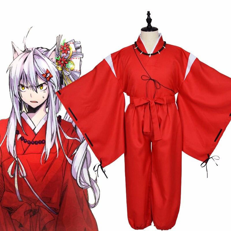 Anime Cosplay de Inuyasha disfraz INUYASHA Kimono rojo japonés ropa de samurái conjunto completo uniforme de fiesta de Halloween pelucas collar orejas