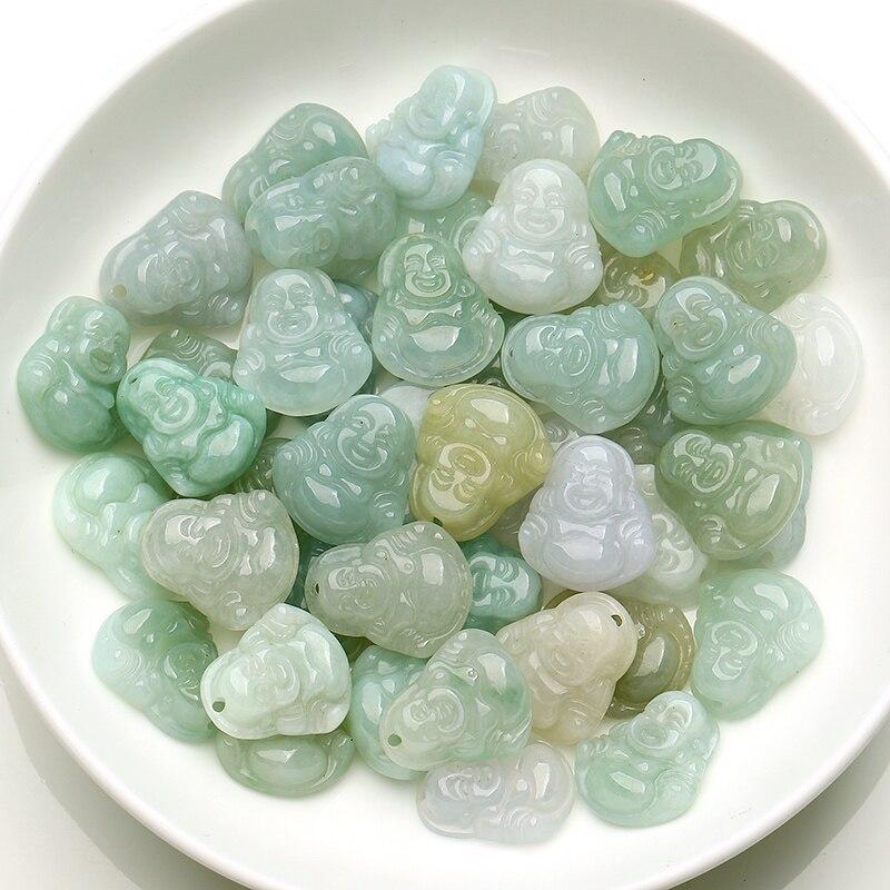 Pingente de jade burmão esmeralda jade, pingente de jade buda pequena, de diy, 1 pacote, 10 peças