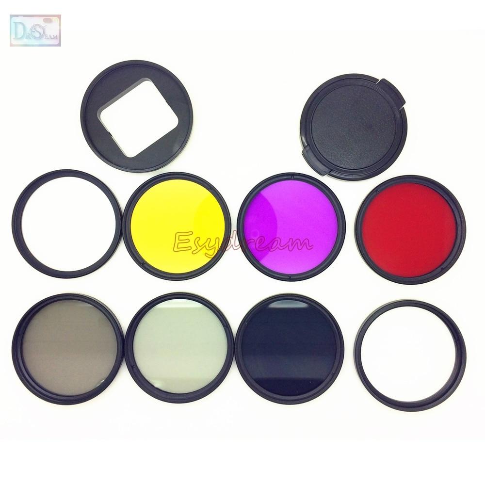 52mm UV CPL FLD Vermelho Amarelo Star8 ND2 ND8 + Filtro Adaptador + 52mm Tampa Da Lente Kit para Gopro Gopro5 Hero5 Preto Herói 5