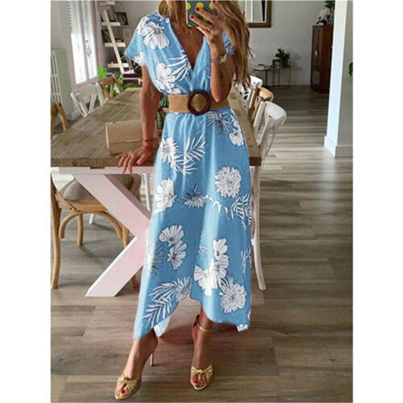 Women Long Maxi Boho Floral Dress Summer Beach Short Sleeve V neck Evening Party Bohemian Beach Dress 2019 Summer Style Dresses