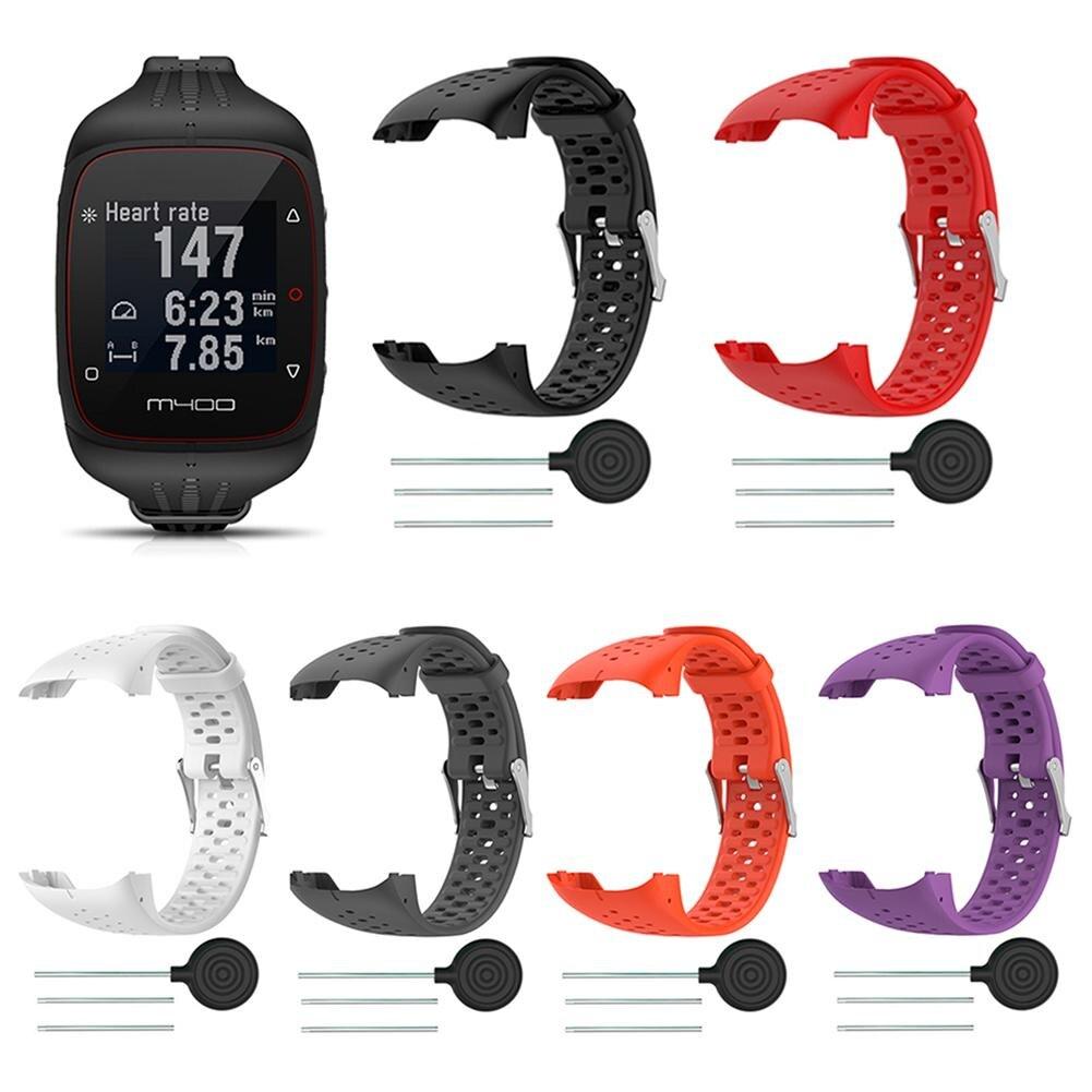 Pulseira de relógio para substituição, correia de silicone para relógio inteligente polar m400 m430 gps, esportivo, ferramenta de pulseira