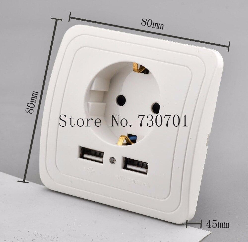 2019 cristal Panel Dual USB puerto de carga 2.1A adaptador/cargador de pared 16A EU para el hogar/Hotel/Oficina