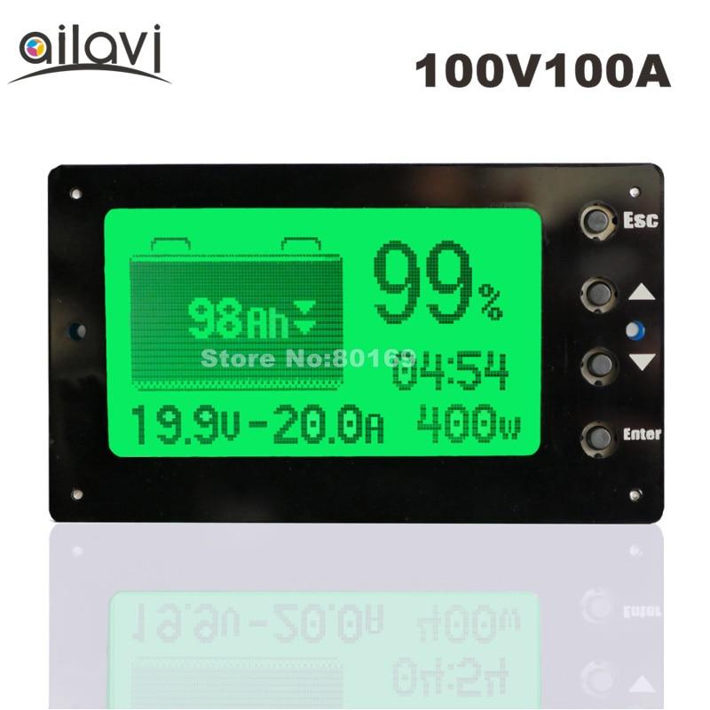 100 V 100A Blei-säure Lithium Batterie Kapazität Tester Spannung Strom Display Coulometer Coulomb Zähler für RV