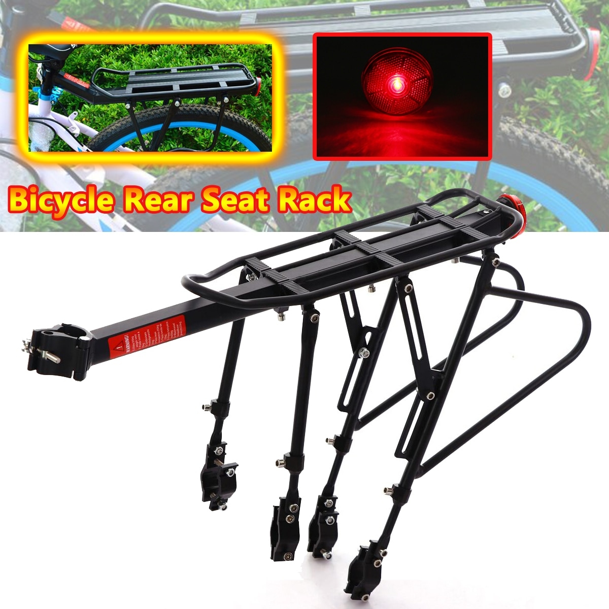 Bicycle MTB Bike Rear Rack Reflector Seat Post Mount Pannier Luggage Carrier Shelf Bracket 50kg Quick release
