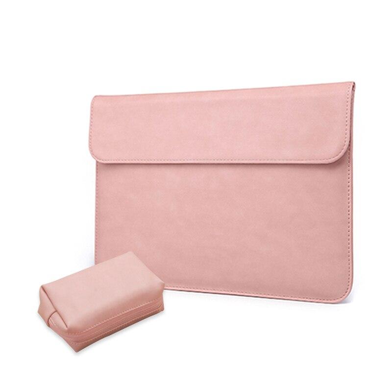 Funda para ordenador portátil para Macbook Air de 13 pulgadas con bolsa de alimentación de cuero rosa