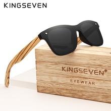 KINGSEVEN Gray Polarized Lens New Zebra Wood Sunglasses Women Men Luxury Brand Vintage Wooden Sun Gl