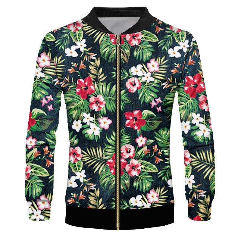 Новинка, 3d бейсбольные куртки на молнии с тропическим цветком, унисекс, Гавайские спортивные куртки с растительным принтом, верхняя одежда, ...
