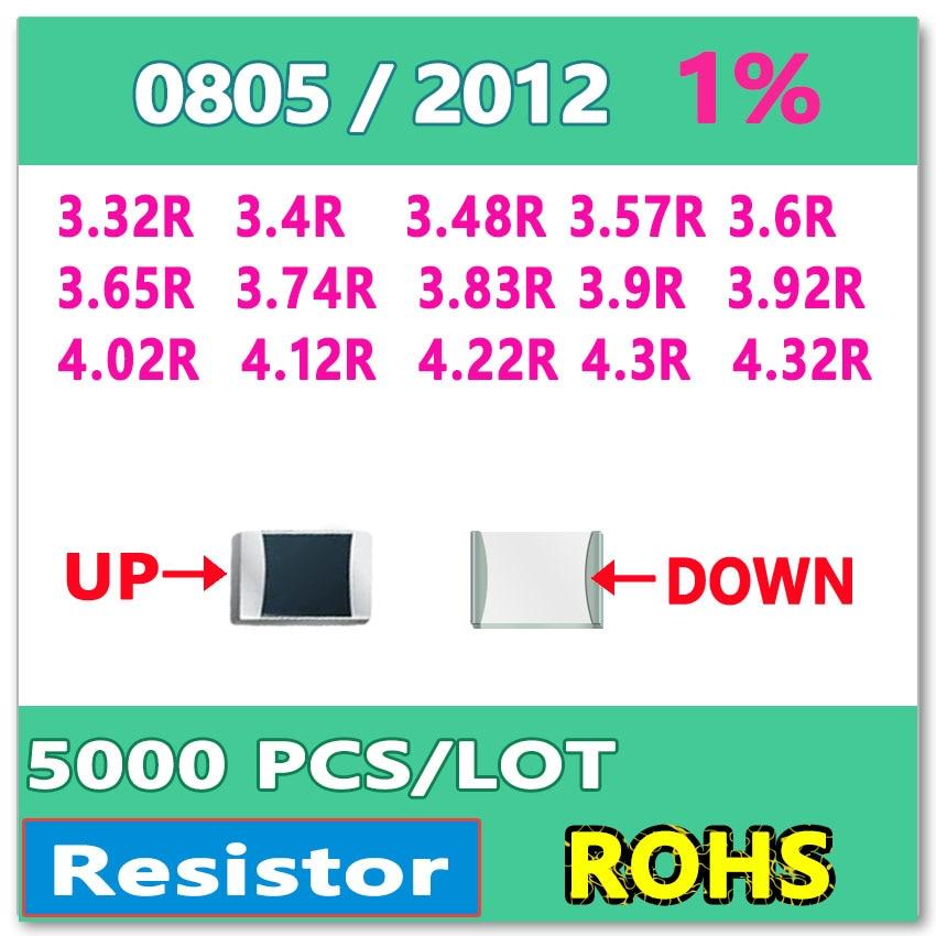 JASNPROSMA OHM 0805 F 1% 5000 Uds 3.32R 3.4R 3.48R 3.57R 3.6R 3.65R 3.74R 3.83R 3.9R 3.92R 4.02R 4.12R 4.22R 4.3R 4.32R smd 2012