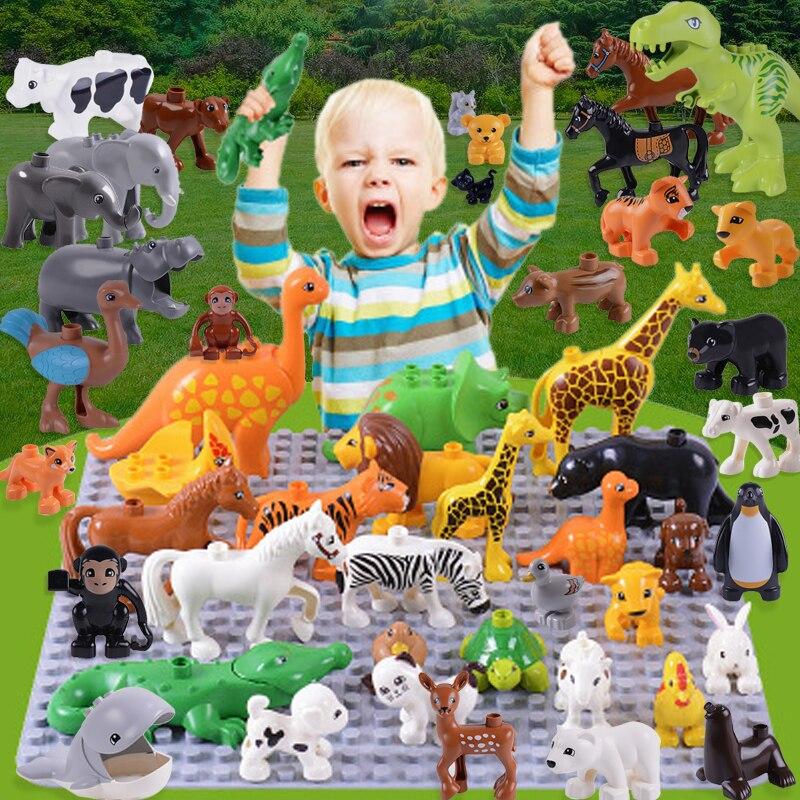 20 unids/lote Animal Zoo de gran tamaño, bloques de construcción, juguetes para niños, León cerdo DIY, juego de ladrillos compatibles con Duploed, regalos para niños