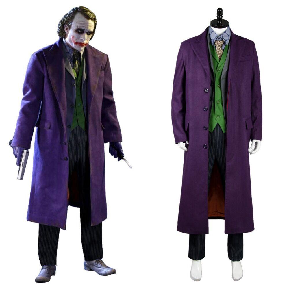 Batman The Dark Knight Joker Cosplay Trench Coat + Blazer + pantalon + gilet + chemise + cravate 6 Pc ensemble complet Cosplay Joker Costume