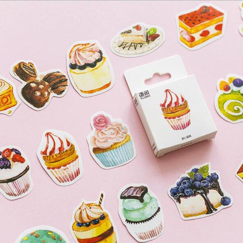 50 unids/caja nuevo lindo dulce pastel hojas para diario sellado de etiquetas pegatinas manualidades y Scrapbooking Decoración Para diario DIY papelería