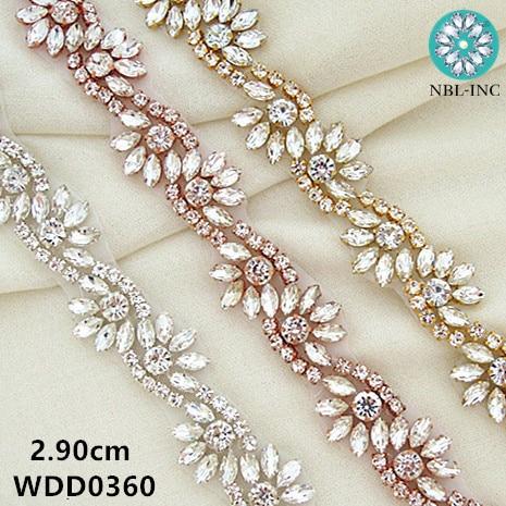 (1 YARD) small size Silver crystal Rhinestone applique bridal beaded trim gold sew iron on for wedding dress  WDD0360