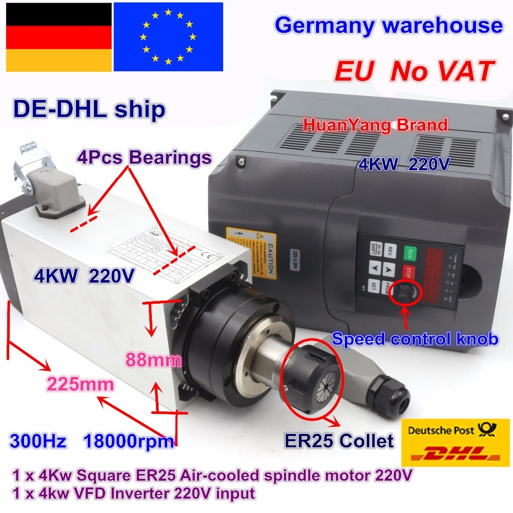 【Free VAT】 Square 4kw ER25 Air cooled Spindle Motor 4 bearings & 4kw VFD Inverter 220V for CNC Router Engraving Milling Machine