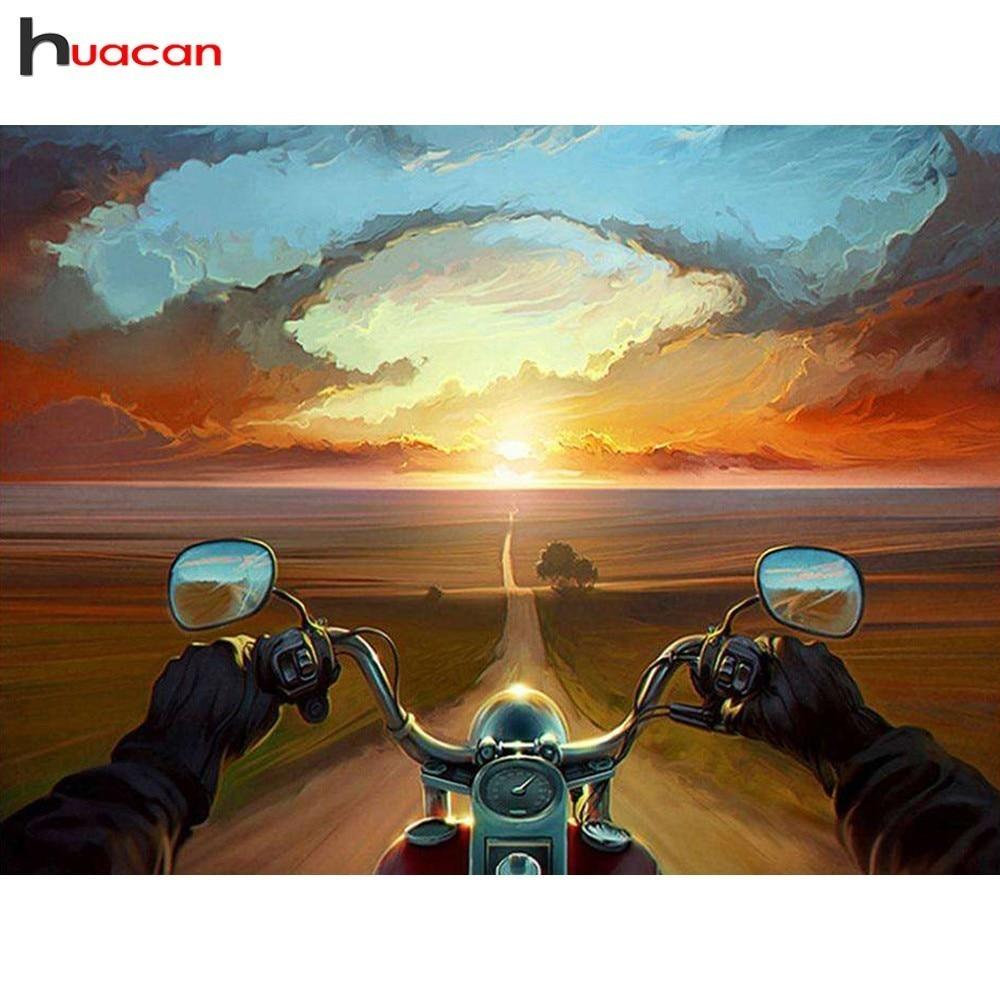HUACAN, mosaico de diamantes para motocicleta, bordado de diamantes, viaje, Diy, pintura de diamantes de dibujos animados, cuadro con imagen completa de diamantes de imitación