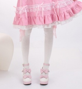 Princess Sweet lolita stockings Japanese maid cosplay lace over-the-knee bow knee-high stockings pink lace thigh cotton CTW5-1