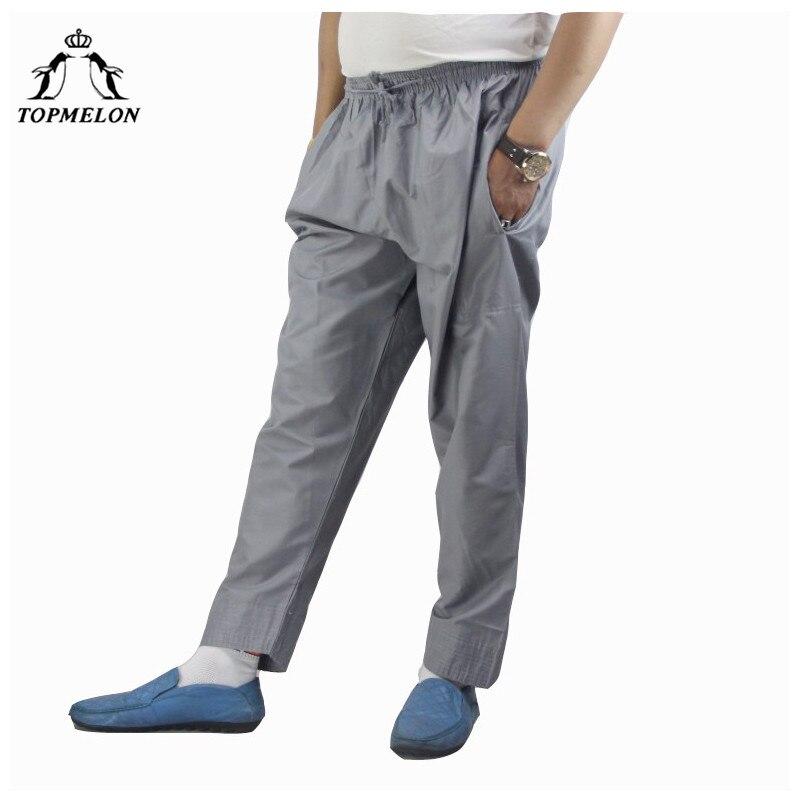 TOPMELON 2018 Muslim Men Kaftan Pants Long Elastic Islamic Clothing with Pockets Plus Size