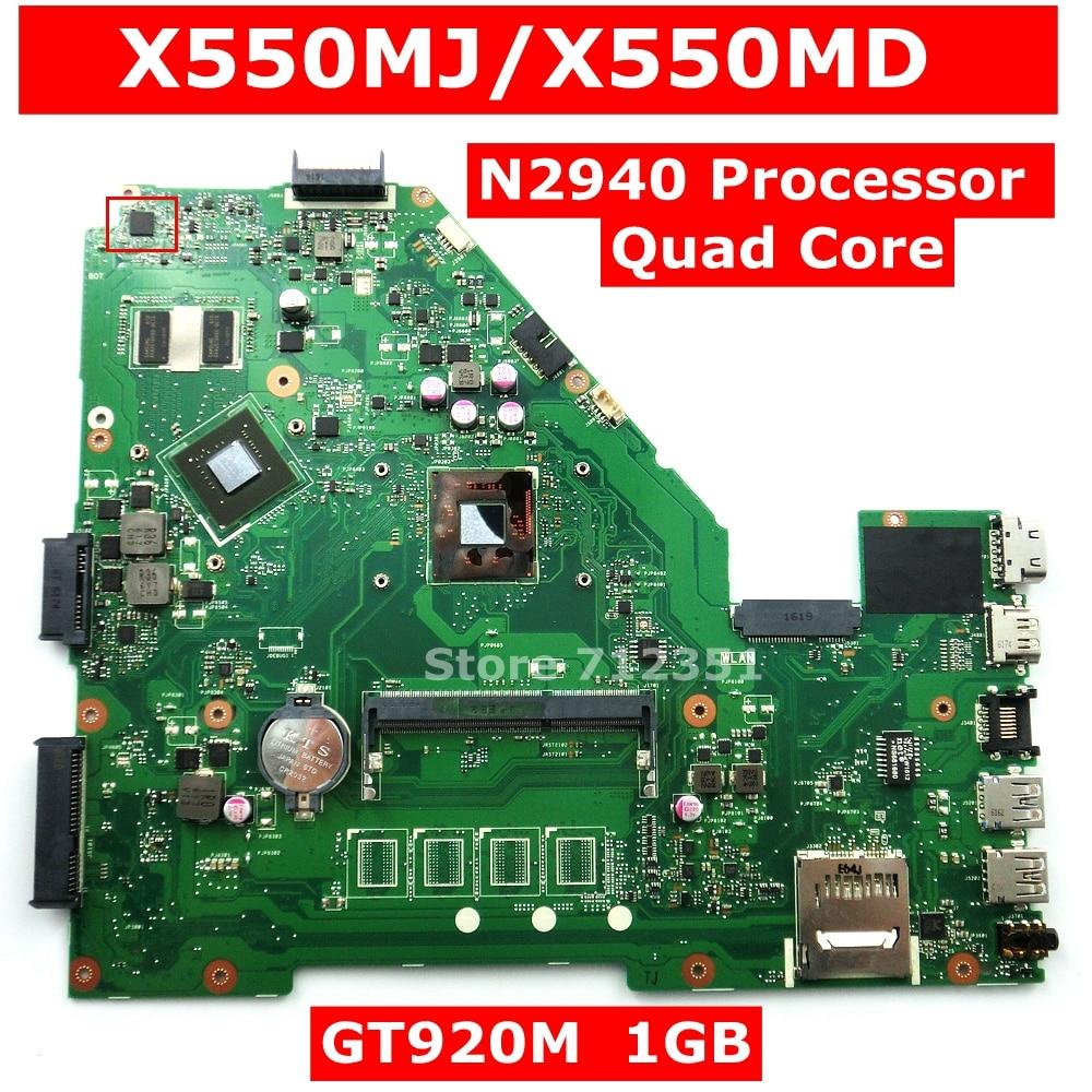 X550MJ N2940 Processador GT920M 1GB 90NB0830-R00040 Mainboard REV 2.0 Para ASUS X550MD X550MJ X552M Y582M K550M laptop motherboard