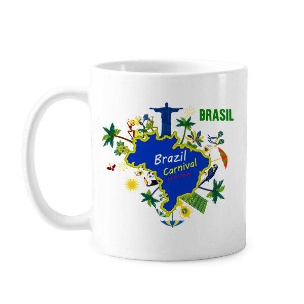 Montura Corcovado Brasil mapas carnaval Brasil río de Río eslogan taza clásica cerámica blanca Taza de cerámica regalo leche café