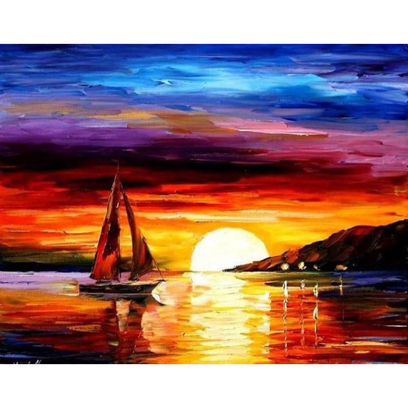 H2202 pintura diamante venda, pintura diamante, diamante bordado pôr do sol cenário