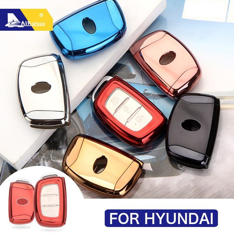 Funda inteligente para llave de coche AIRSPEED de TPU con 3 botones, funda para llave para Hyundai IX35 Tucson 2016 2017 Solaris Sonata IX25 Mistra Verna