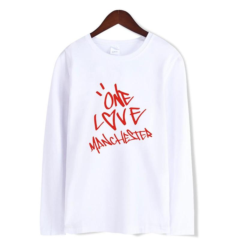 Hombres Mujeres moda One Love Manchester Hip Hop estilo callejero camisetas Casual camiseta Tops manga larga Camiseta ropa