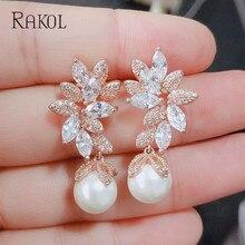 Pendientes de gota RAKOL Vintage con flores de Zirconia cúbica y perlas de imitación para mujer elegante pendiente para Boda nupcial