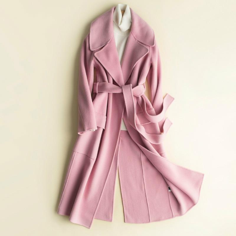 KMETRAM-abrigos de invierno para mujer, chaqueta de lana con cinturón ajustado, abrigo...