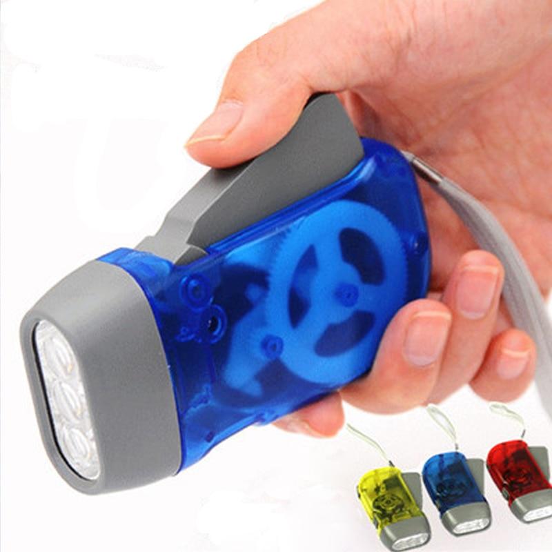 Linterna de viaje con 3 LED dinamo, producto sin batería, generador Manual, luces de Camping, Linterna de mano con manivela