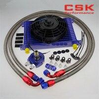Universal 15 Row engine Transmission 10AN Oil Cooler kit +7 Electric Fan Kit SL