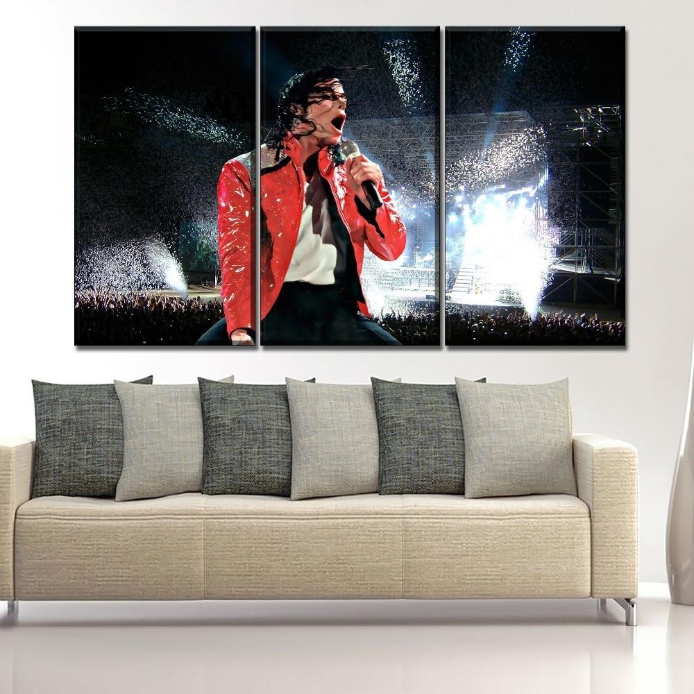 Cuadro con marco de música de arte de pared un conjunto de 3 piezas Michael Jackson cuadros de concierto Decoración Para sala de estar cartel impreso HD