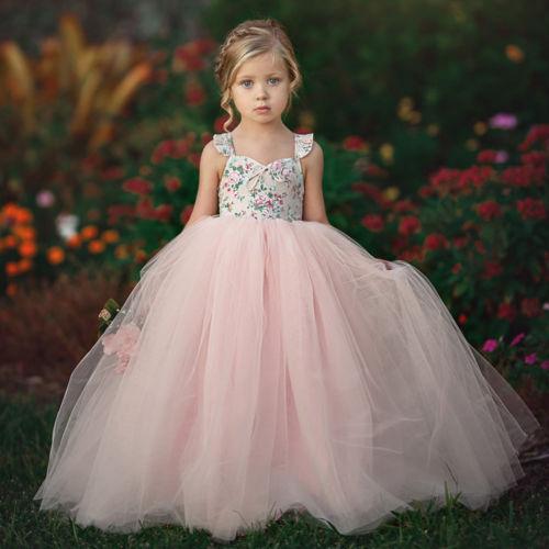Flower Girls Sleeveless Dress Lace Princess Party Wedding Bridesmaid Dress Long Sundress Hot Sale